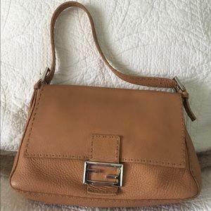 Fendi Beige Leather Selleria Baguette Mama Purse